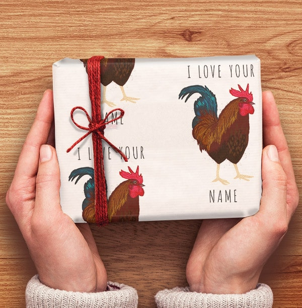 Cockerel Personalised Wrapping Paper