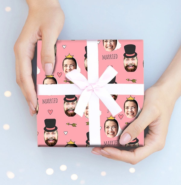 Just Married Photo Wrapping Paper