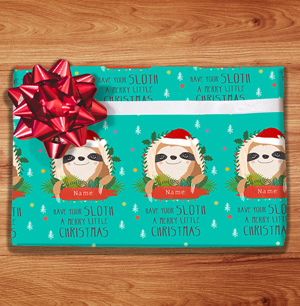 Christmas Sloth Personalised Wrapping Paper