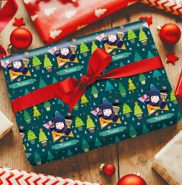 Blue Photo Christmas Wrapping Paper