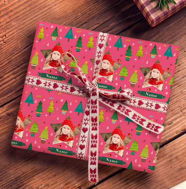 Pink Photo Christmas Wrapping Paper