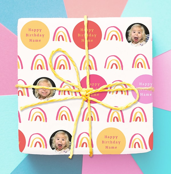 Pink Rainbow Photo Birthday Wrapping Paper