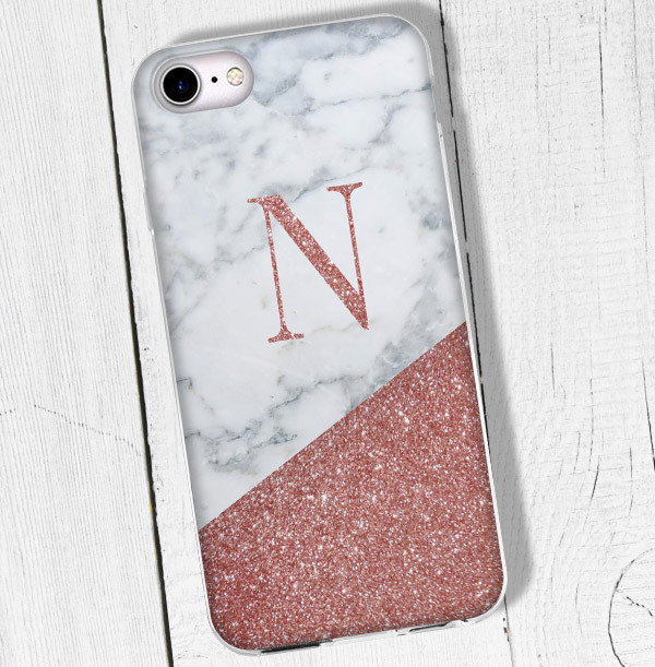 Marble & Glitter Personalised Initial iPhone Case