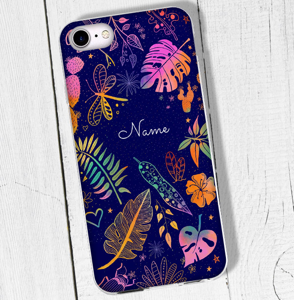 Tropical Leaves Personalised iPhone Case