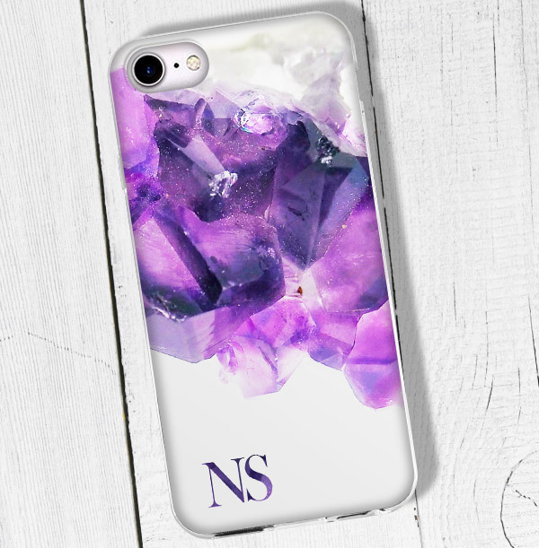 Purple Pattern & Initials Personalised iPhone Case