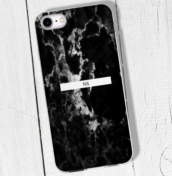 Black Marble & Initials iPhone Case