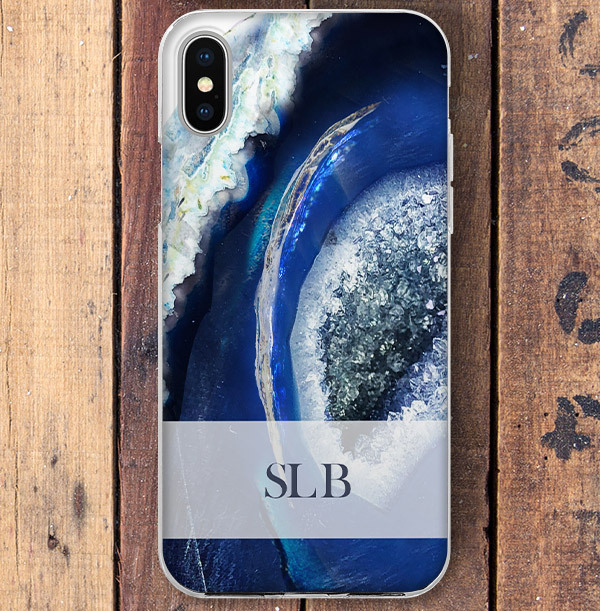 Modern Blue Pattern Personalised iPhone Case