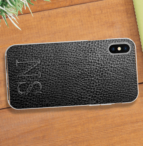 Leather Effect Initials iPhone Case
