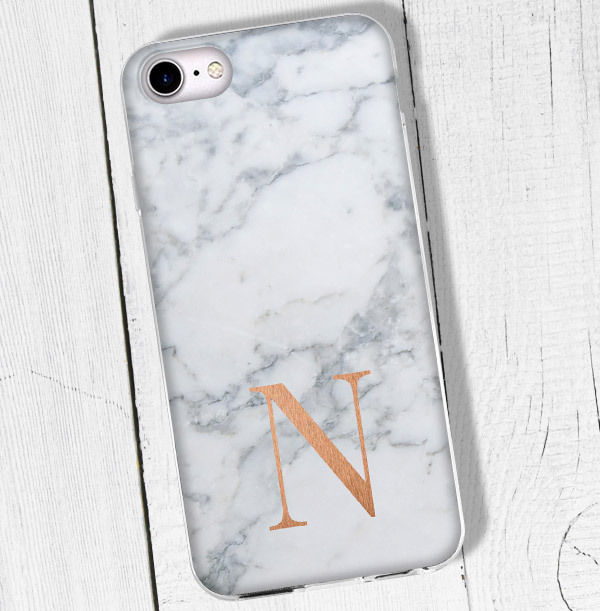 Marble Effect iPhone Case - Copper Initial