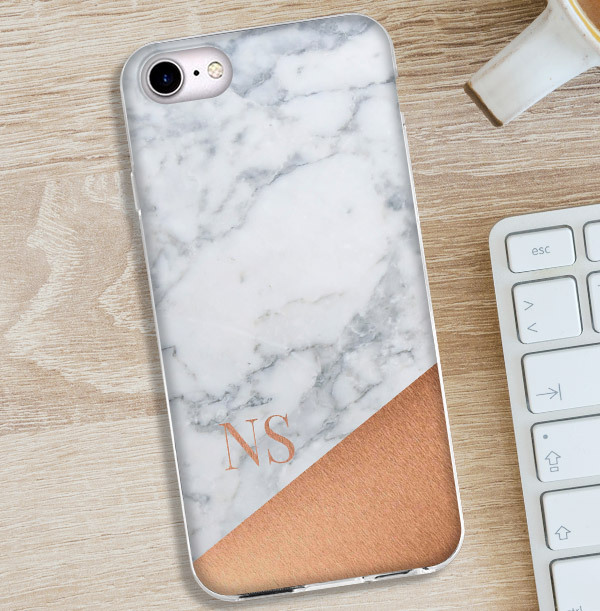 Marble & Copper iPhone Case with Initials