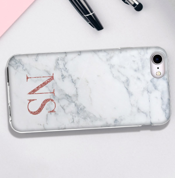 Marble Style iPhone Case - Copper Initials