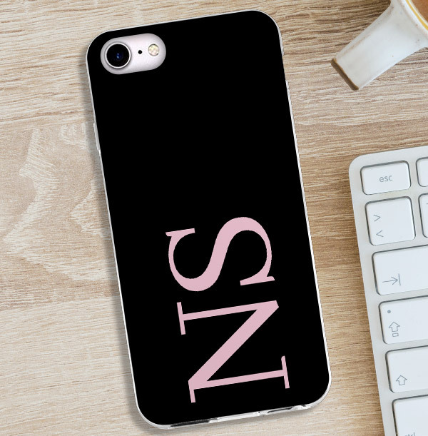 Black iPhone Case with Large Pink Initials