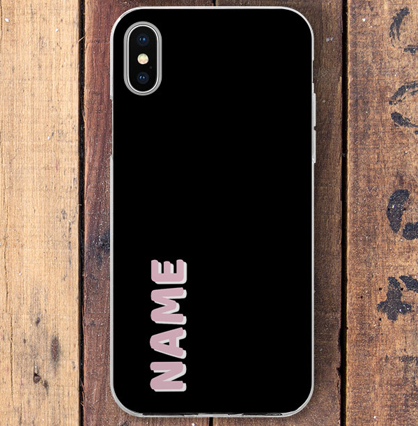 Black iPhone Case with Large Pink Name