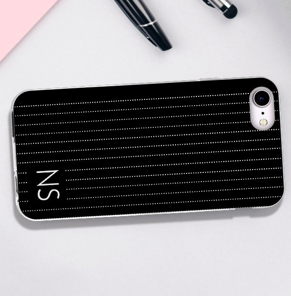 Black iPhone Case with Pin Stripe & Initials