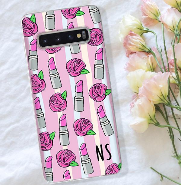 Lipstick & Roses Initials Samsung Phone Case