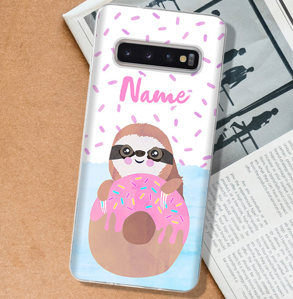 Sloth & Doughnut Personalised Samsung Phone Case