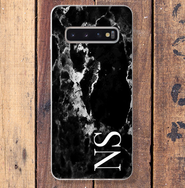 Black Marble & Large Initials Samsung Phone Case