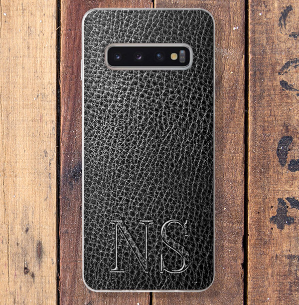 Leather Effect & Initials Samsung Phone Case