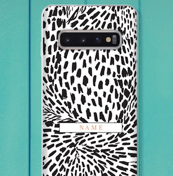 Personalised Leopard Print Samsung Phone Case - Gold Initials