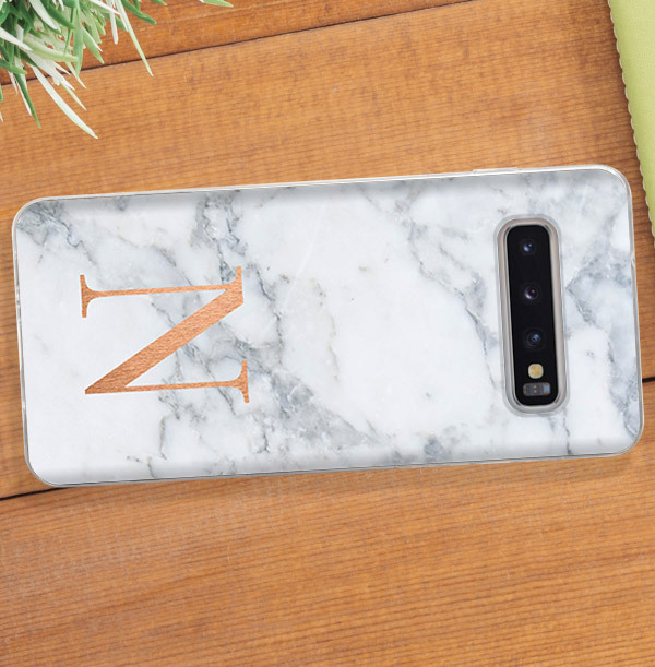 Marble Effect Samsung Phone Case - Copper Initial