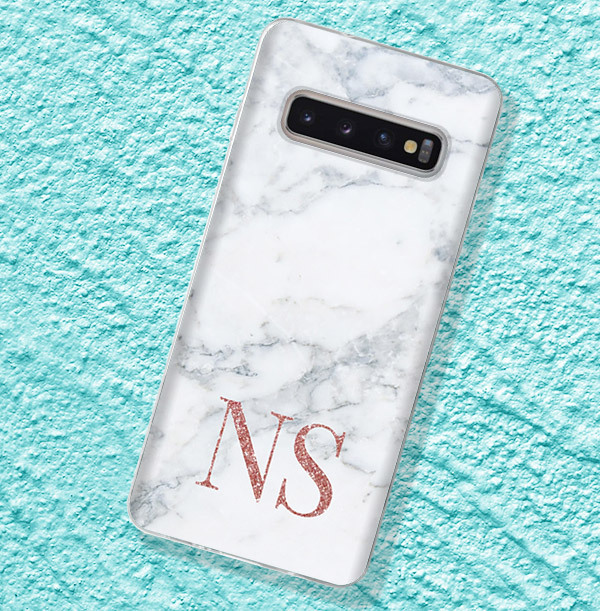 Marble Style Samsung Phone Case - Copper Initials