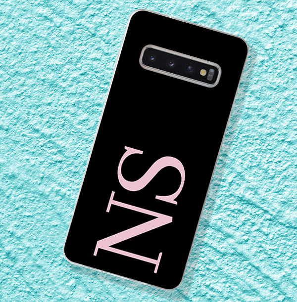 Black Samsung Phone Case with Large Pink Initials