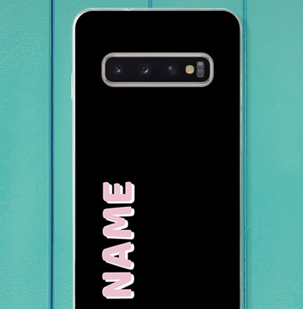 Black Samsung Phone Case with Large Pink Name