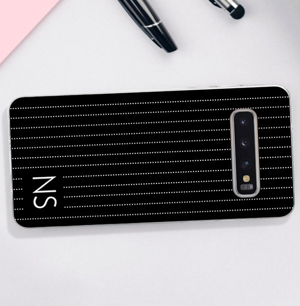 Black Samsung Phone Case with Pin Stripe & Initials