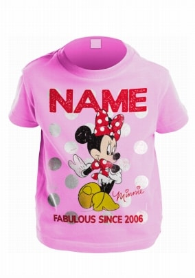 Minnie Mouse Personalised Pink T-Shirt For Kids