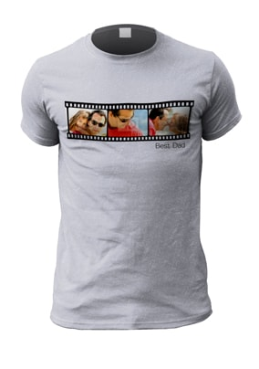 Personalised Best Dad Film Reel Multi Photo T-Shirt