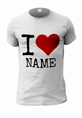 I Heart Personalised T-Shirt - Black Text