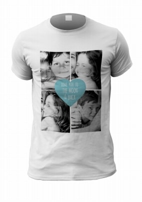 Four Photo Upload Personalised Blue Heart T-Shirt