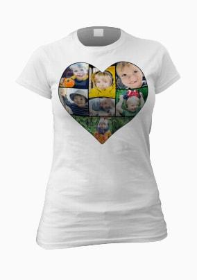 Personalised Multi Photo Heart Women's T-Shirt