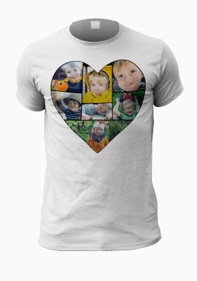 Personalised Multi Photo Heart Men's T-Shirt