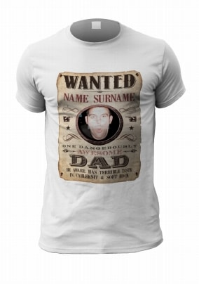 Funny Dad Wanted Personalised Photo T-Shirt
