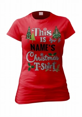Personalised Christmas T-Shirt For Women
