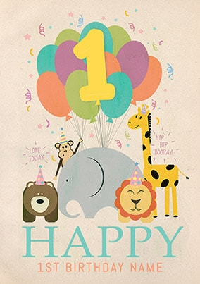 Happy 1st Birthday Personalised Poster