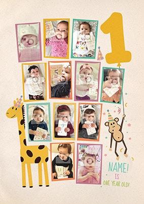 1st Birthday Multi Photo Poster