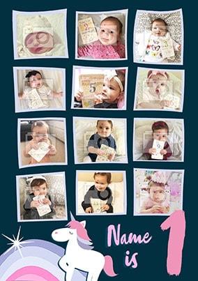 1st Birthday Unicorn Multi Photo Poster