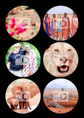 Black 6 Circle Photo Upload Large Poster
