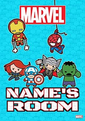 Marvel Kawaii Poster,  personalised - Mini Heroes Room