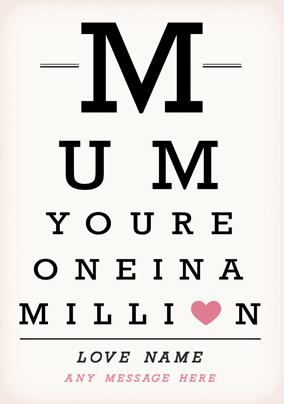 One In A Million Small Poster for Mum