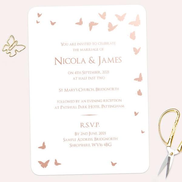 Foil Wedding Invitations.Elegant Butterflies Rose Gold Foil Wedding Invitation